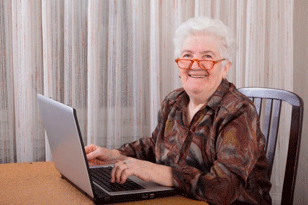 Woman Happy at Computer